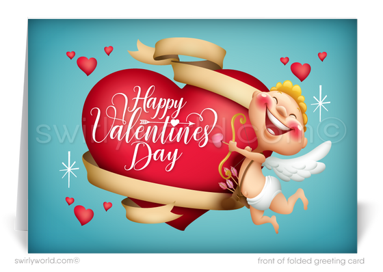 Retro Modern Cupid Business Valentine's Day Cards for Customers