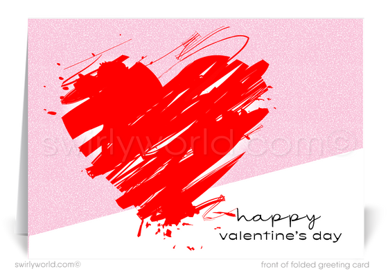 Client Corporate Retro Modern Valentine's Day Cards for Business