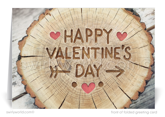 Business Rustic Wood Professional Valentine's Day Cards
