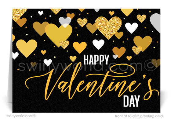 Black and Gold Professional Business Valentine's Day Cards