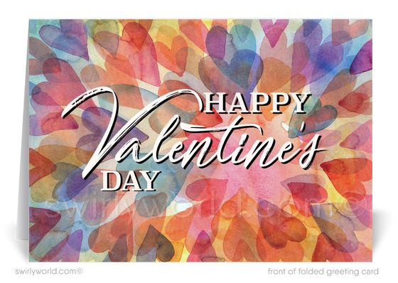 Watercolor Professional Business Valentine's Day Cards