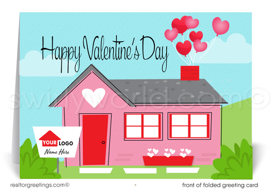 Cute Client Retro Pink House Happy Valentine's Day Cards for Realtors®
