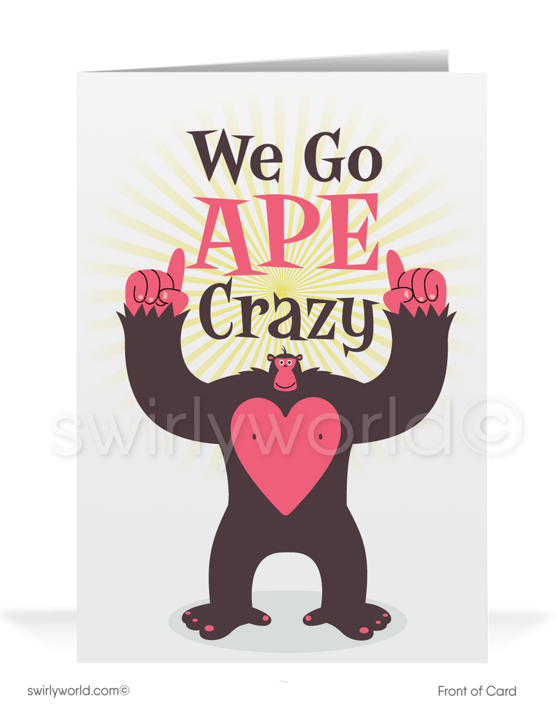 Ape Crazy For Your Business Valentine's Day Greeting Card