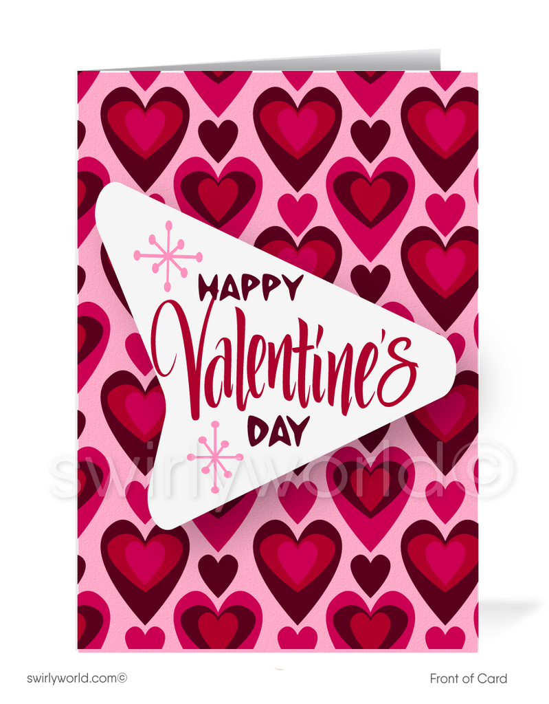 Heart Of Our Business Retro Modern Happy Valentine's Day Cards