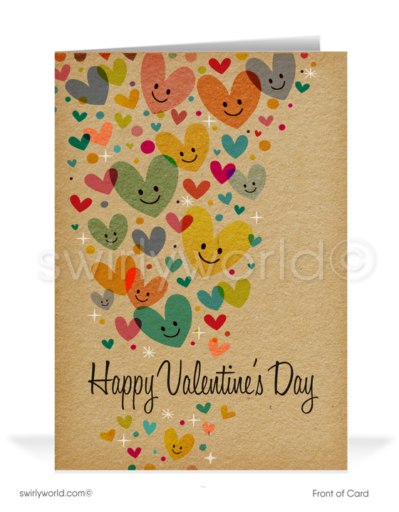 Whimsical Hearts Business Valentine's Day Cards for Clients
