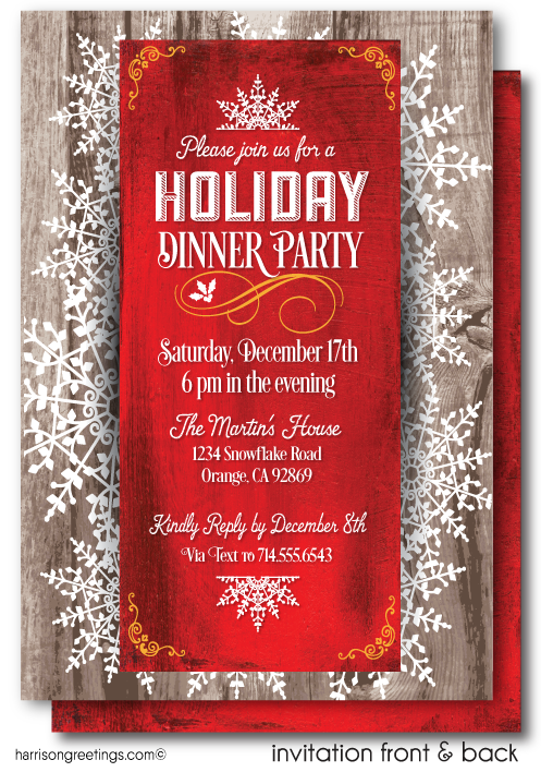 Rustic Holiday Dinner Party Invitations
