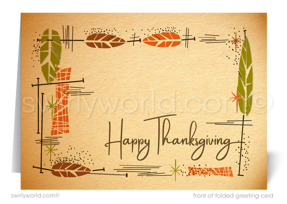 Atomic Retro Mid-Century Modern 1960s Happy Thanksgiving Cards