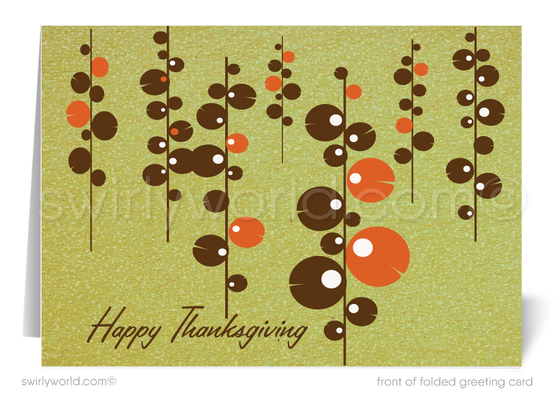 Atomic Retro Mid-Century Modern Happy Thanksgiving Cards