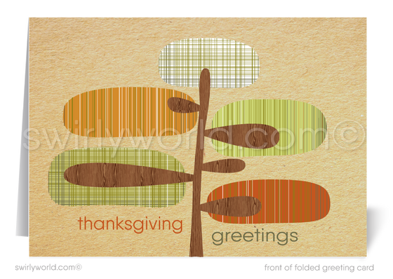 Retro Mid-Century Modern Style Leaves Happy Thanksgiving Cards