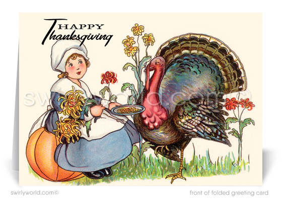 Victorian 1920's Vintage Antique Old Fashioned Thanksgiving Greeting Cards