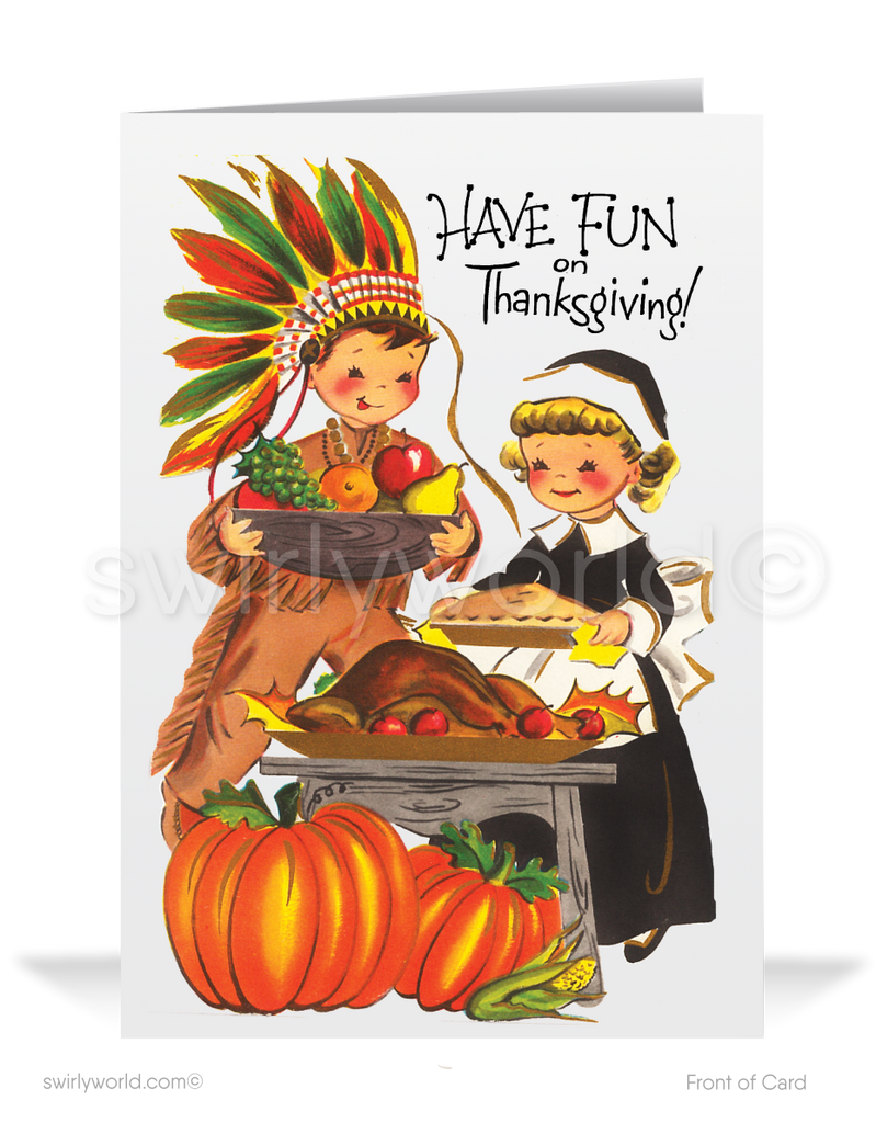 Vintage Mid-Century Modern Retro 1950's Thanksgiving Cards