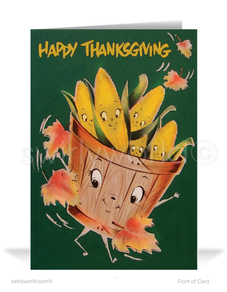 1950's style mid-century retro vintage happy Thanksgiving greeting cards.