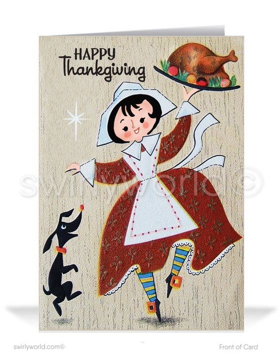 Vintage 1950s Retro Mid-Century Happy Thanksgiving Greeting Cards