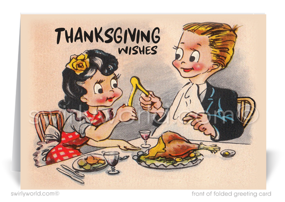 1930s Vintage Retro Mid-Century Happy Thanksgiving Greeting Cards