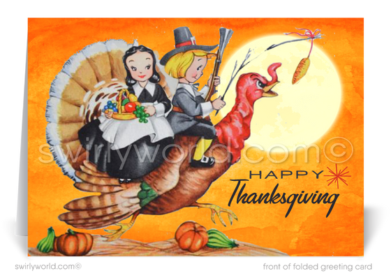 1950s Vintage Retro Mid-Century Modern Pilgrims Thanksgiving Cards