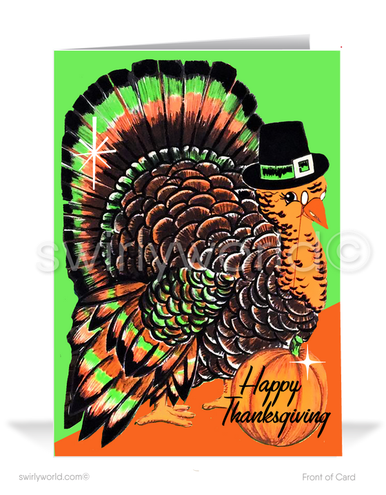 1950s Vintage Retro Mid-Century Modern Turkey Thanksgiving Cards