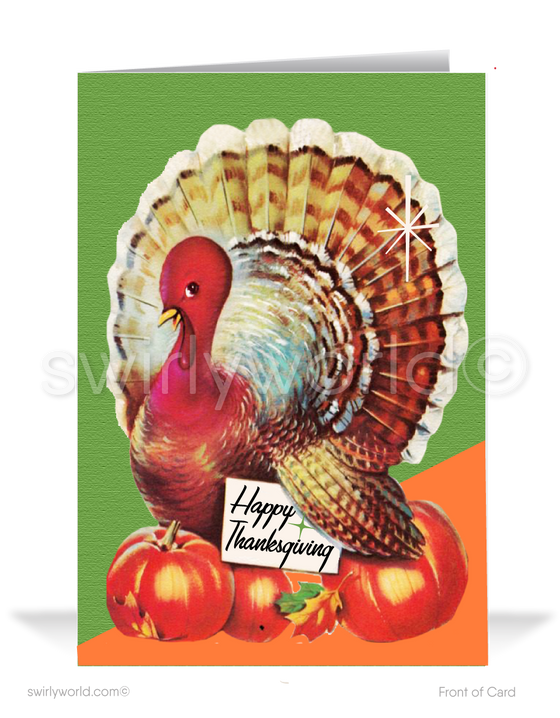 1950s Retro Mid-Century Atomic Mod Turkey Happy Thanksgiving Cards