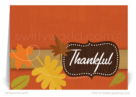 Retro Mid-Century Modern Fall Foliage Happy Thanksgiving Greeting Cards