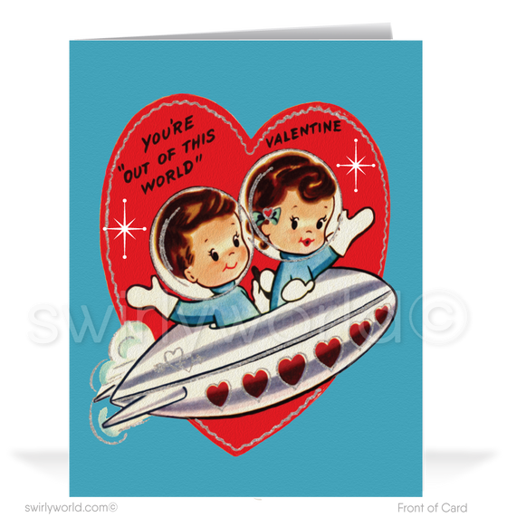1950's Vintage Outer Space Happy Valentine's Day Cards