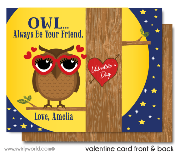 Retro Cute Gender Neutral Owl Valentine's Day Cards Digital Printable Download