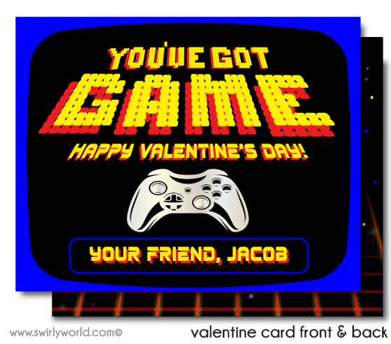 Retro Space Video Game 1980's Arcade Valentine's Day Cards for Digital Download