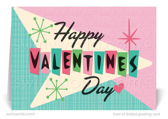 Cool Retro Mid-Century Modern Valentine's Day Cards for Business