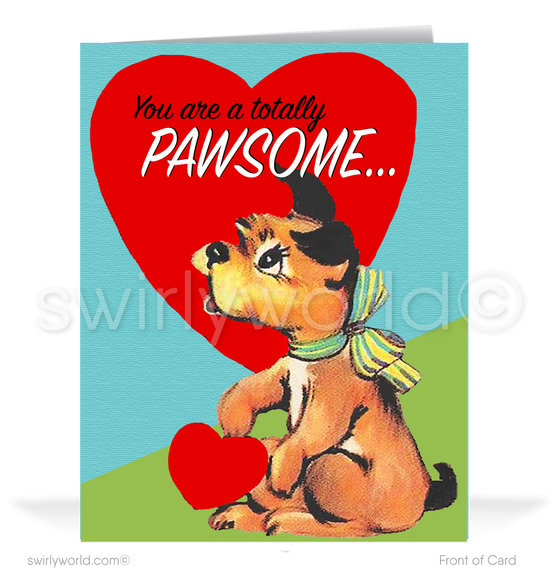 1950's Vintage Mid-Century Retro Dog Valentine's Day Cards