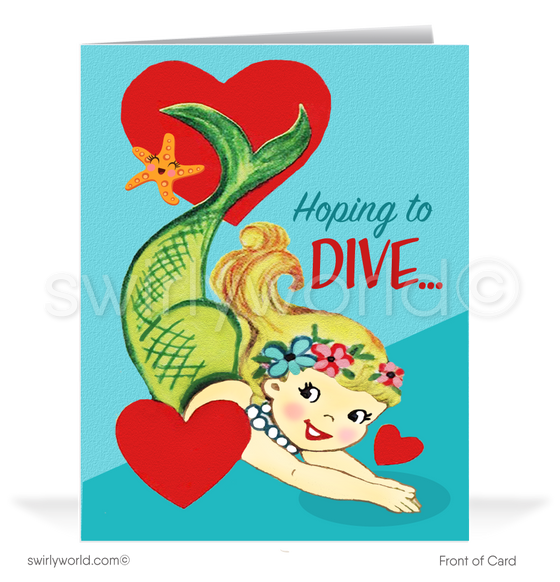 Cute 1950's Mid-Century Vintage Mermaid Retro Valentine's Day Cards