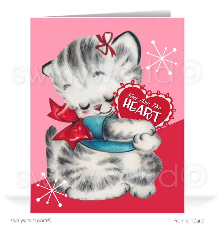 1940's Kitty Cat Retro Mid-Century Valentine's Day Cards