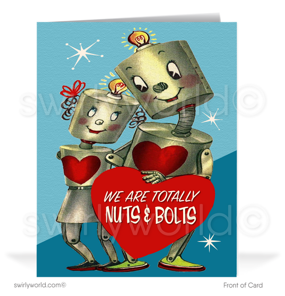 1950's Cute Robots Vintage Retro Valentine's Day Cards