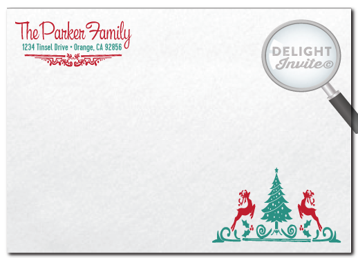 Vintage Retro Whimsical Holiday Christmas Dinner Party Invitations