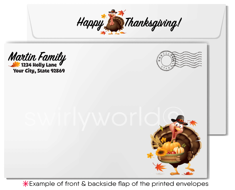 Cute Turkey Thanksgiving Cards for Customers