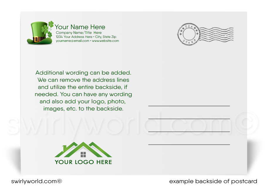 Green Argyle Business Happy St. Patrick's Day Postcards