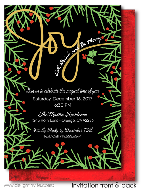 Eat, Drink, and Be Merry Holiday Christmas Party Invitations