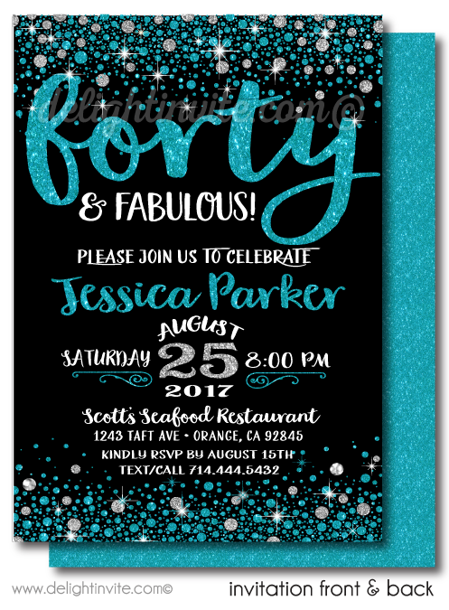 Aqua Blue and Silver Glitter Forty and Fabulous Printed Birthday Invitations