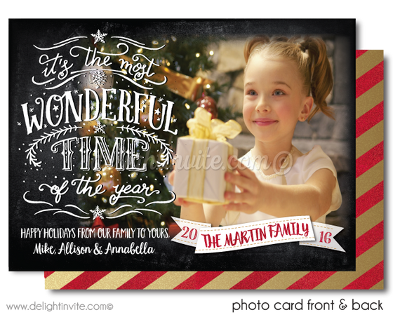 It's the Most Wonderful Time of the Year Vintage Merry Christmas Holiday Photo Cards Printed