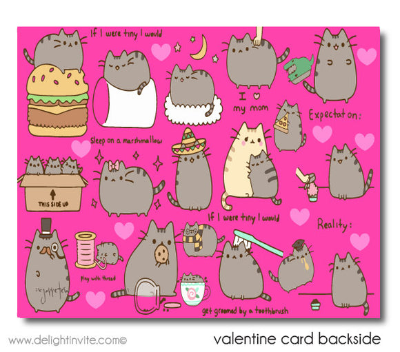 Pusheen Cat Valentine's Day Card Printable Digital Download