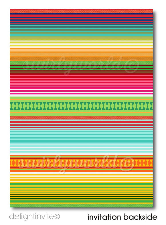 Mexican Fiesta Papel Picado Paper Flags Save the Date Cards Digital Download