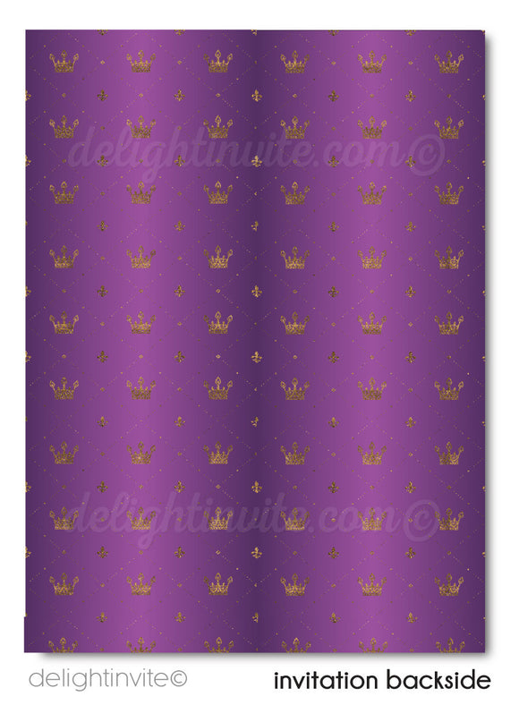 Formal Traditional Purple and Gold Royal Wedding Save the Date Card Digital Download