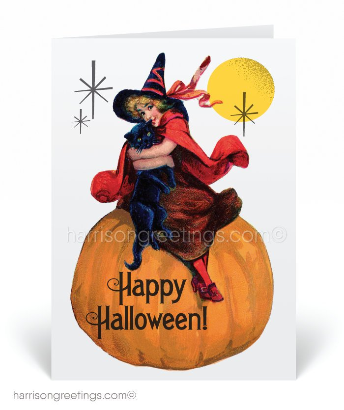 Vintage Art Deco Witch 1920's Halloween Cards