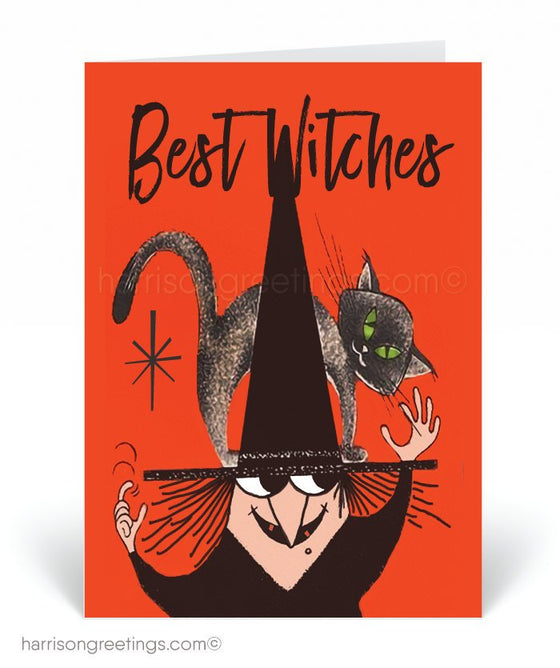 Vintage Witch 1950's Mid-Century Modern Halloween Cards. Retro Halloween images