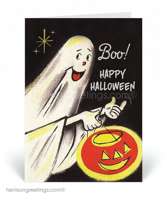 Vintage Ghost 1950's Style Mid-Century Modern Halloween Cards