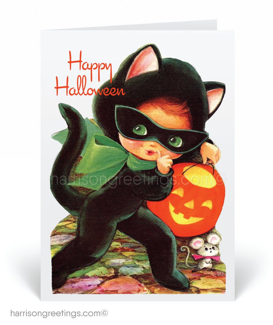 Vintage Black Cat 1950's Mid-Century Modern Halloween Card Digital Download