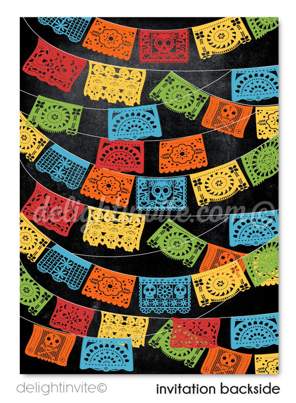 Papel Picado Flags Fiesta Boy Birthday Invitations