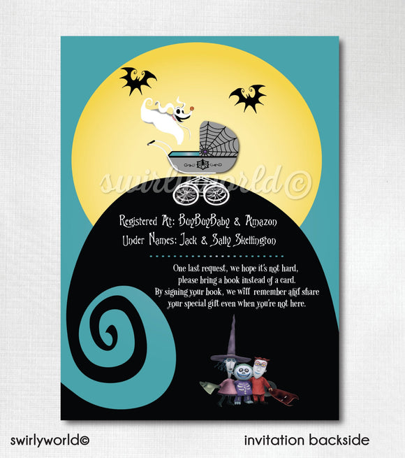 Nightmare Before Christmas Jack and Sally Baby Shower Invitation and Thank You Card Digital Download Bundle