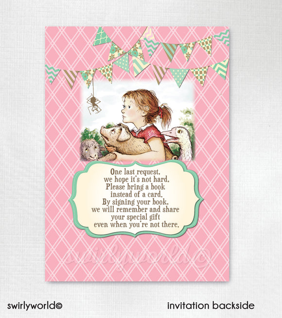 Charlotte's Web Baby Shower Invitation and Thank You Card Digital Download Bundle