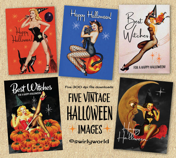 DIGITAL Vintage Halloween Card Bundle. 1950s Sexy Pinup Witch Halloween Designs. Art Deco 1920s Halloween Card. Vintage Women Halloween Card