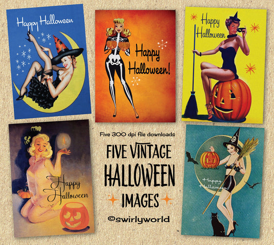 DIGITAL Vintage Halloween Card Bundle. 1950s Sexy Pinup Witch Halloween Designs. Retro Pinup Halloween Card. Vintage Women Halloween Card