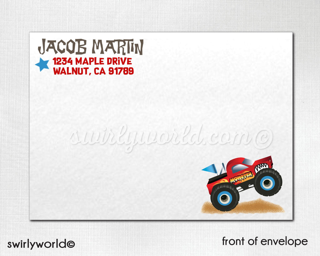 Monster Truck Race Birthday Invitations. Trucks Theme Birthday. Racing Party. Boy Racer Invite Design. Birthday for Boy Design.  DI319DP