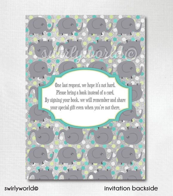 """Little Peanut"" Baby Boy Elephant First Birthday Party Invitation Download"